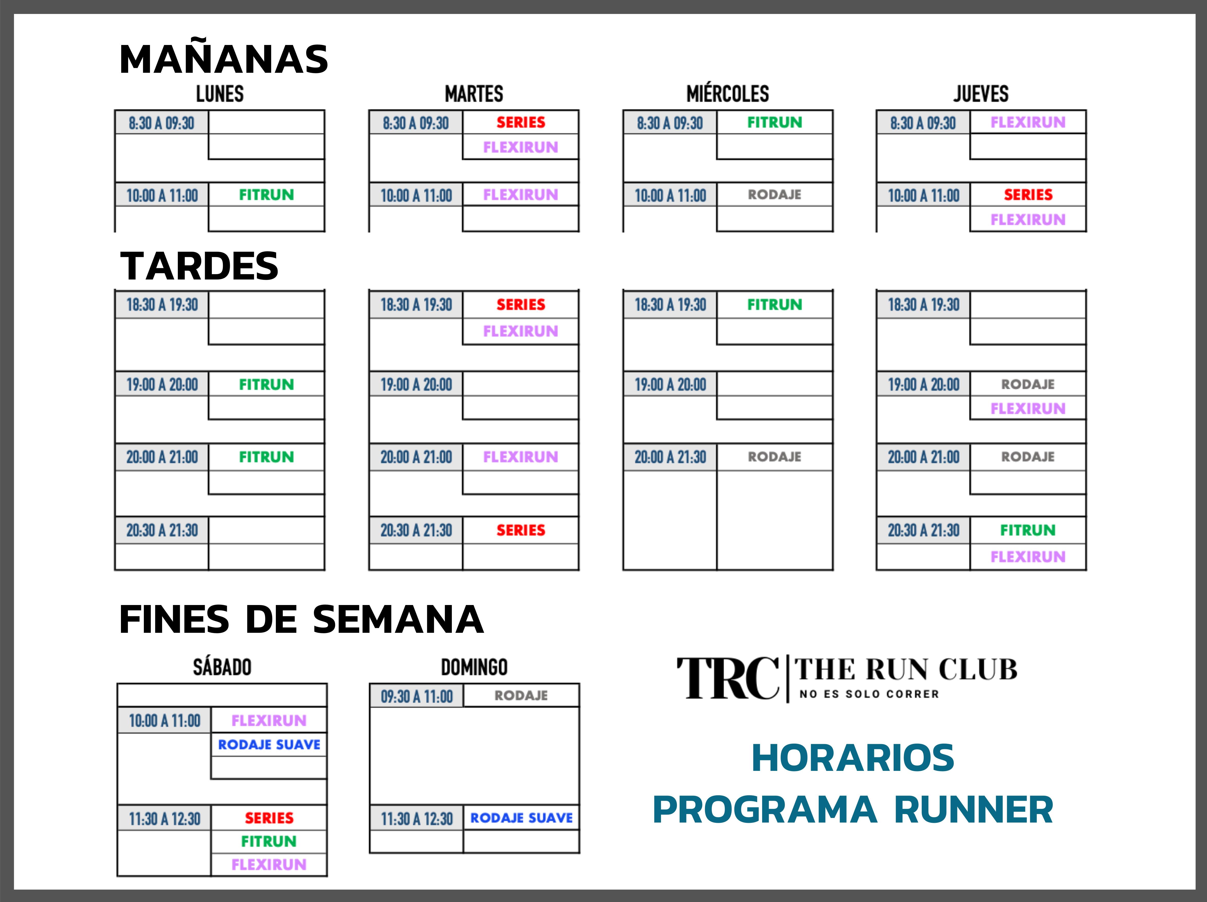 HORARIO PROGRAMA RUNNER TEMPORADA 20-21 - TRC - THE RUN CLUB - CLUB DE CORREDORES MADRID