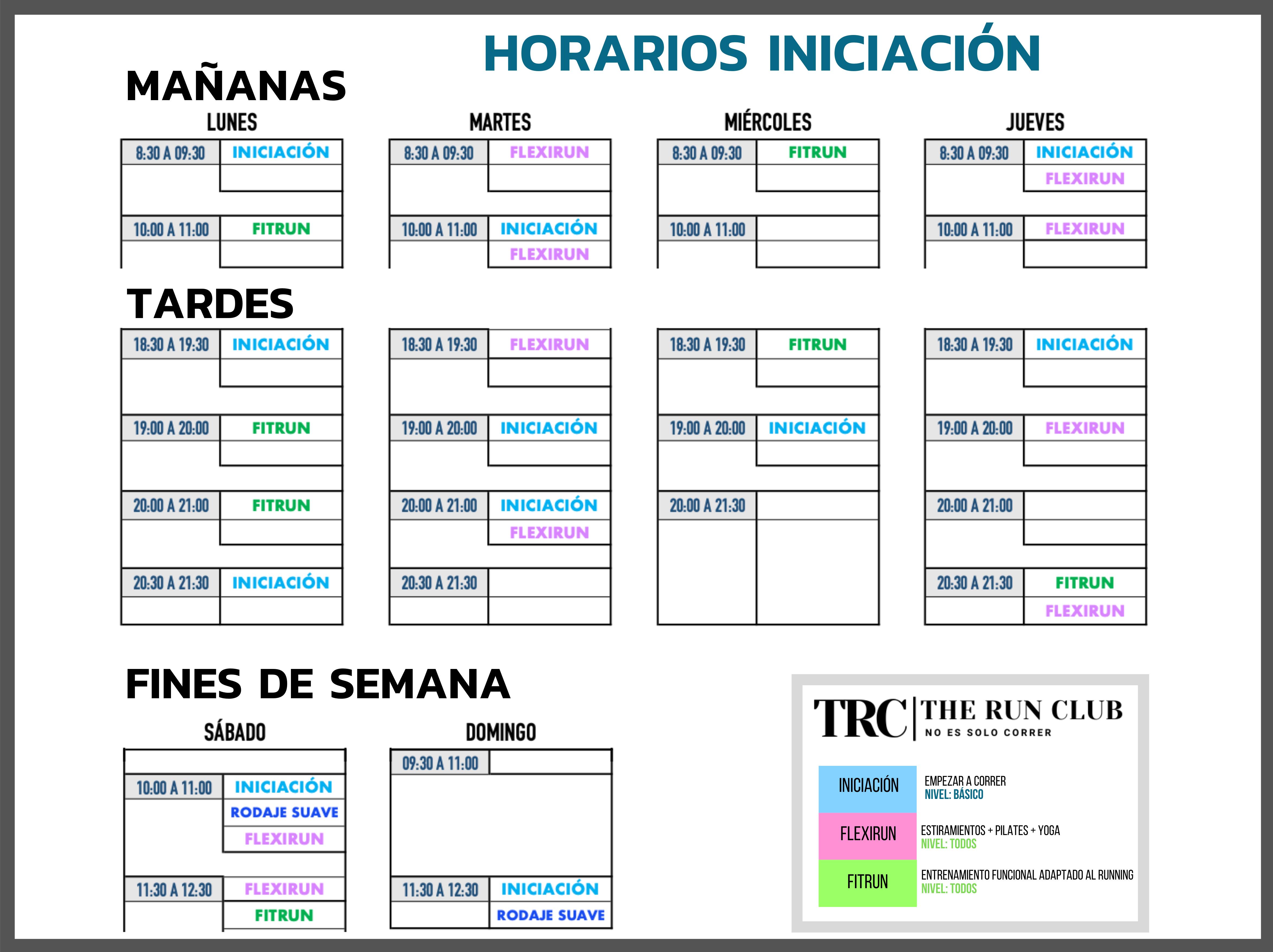 _HORARIO CURSO INICIACIÓN TEMPORADA 20-21 - TRC - THE RUN CLUB - CLUB DE CORREDORES MADRID