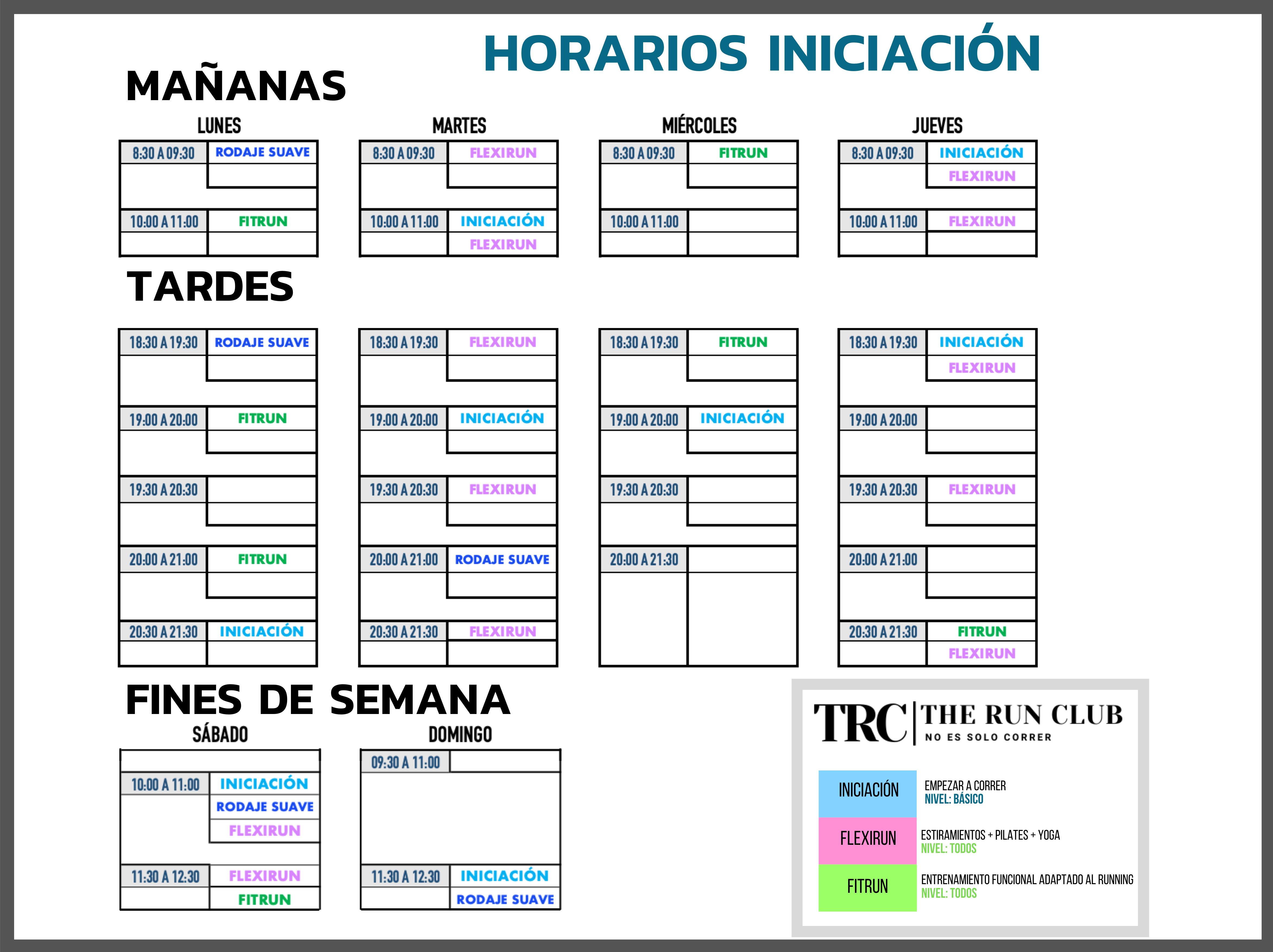 Horarios Curso de Iniciación - Empezar a correr en Madrid - TRC The Run Club