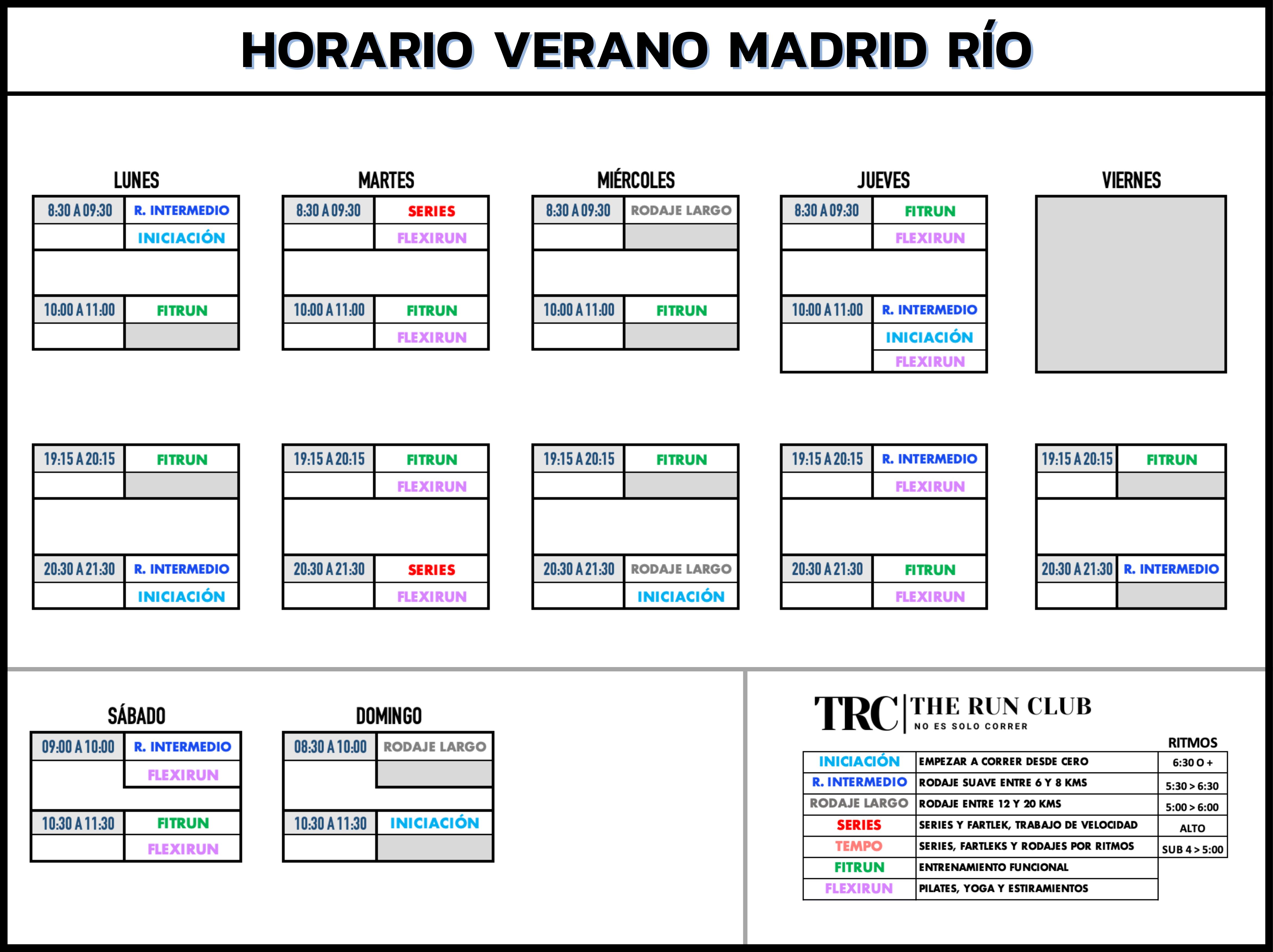 Horario Club de Corredores Madrid - TRC The Run Club - Sede Madrid Río
