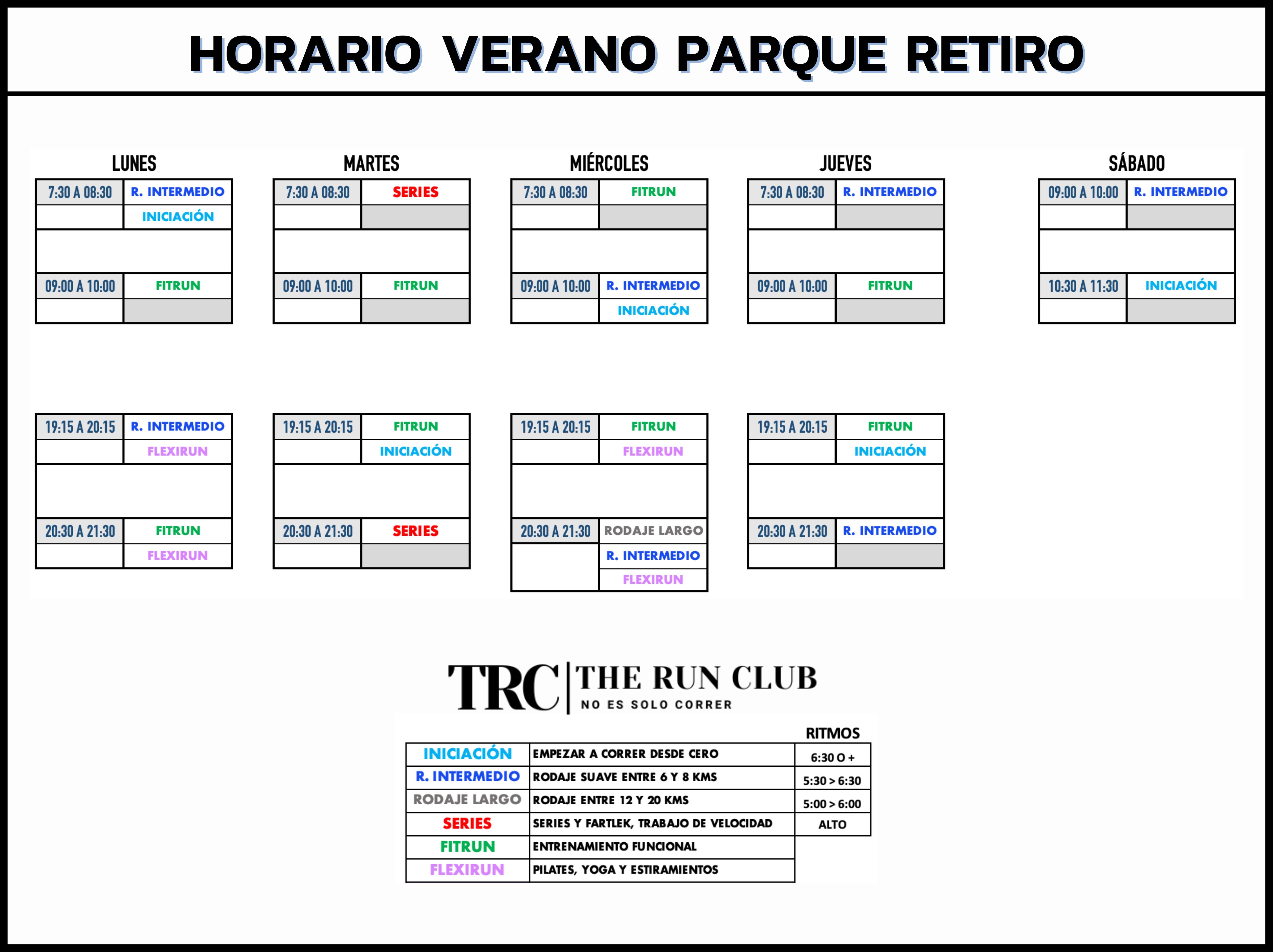 Horario Club de Corredores Madrid - TRC The Run Club - Sede Parque del Retiro